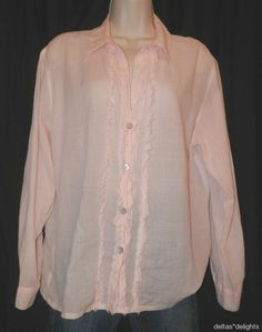 CHICO'S TOP 2 L Large Pink White Striped Lightweight Career Frayed Ruffle L/S