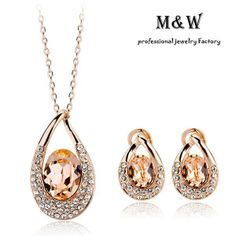 220436 High Quality AAA Water Drop Crystal Necklace Earrings 18K Champagne Gold Plated Jewelry Set as Gift US $22.18