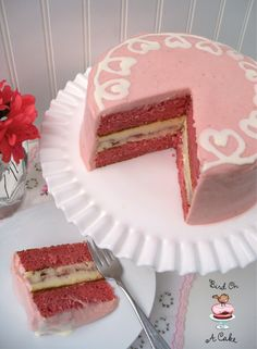 Bird On A Cake: Strawberry Swirl Cheesecake Cake. Must try for valentine's day.