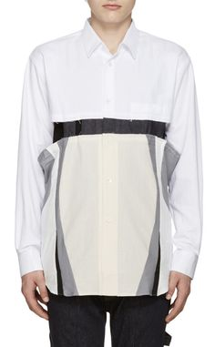 Comme des Garçons Shirt White Cut-Out Shirt from SSENSE (men, style, fashion, clothing, shopping, recommendations, stylish, menswear, male, streetstyle, inspo, outfit, fall, winter, spring, summer, personal)