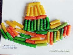 Cinco de Mayo Sombrero Craft using colored noodles. Noodles color easily with food coloring and rubbing alcohol. Kids Crafts, Preschool Activities, Pasta Crafts, Thinking Day, Mexican Party, Fiesta Party, Toddler Preschool, Spring Crafts, Holiday Fun