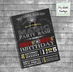 Magic Birthday party invitation magic show by myooakboutique