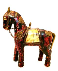 "Horse Lover? This Vintage Wooden Horse Figurine has Metal Details and Inlay Shell Saddle. 6.5"" Tall  #Horses"