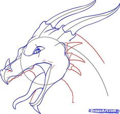Drawing Doodle Easy how to draw a dragon head step 9 Dragon Head Drawing, Easy Dragon Drawings, Cool Drawings, Drawing Techniques, Drawing Tips, Drawing Sketches, Fire Dragon, Dragon Art, Dragon Anatomy