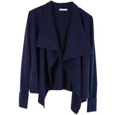 Ille De Coco - Rib Detail Cardigan Navy Marl ($300) ❤ liked on Polyvore featuring tops, cardigans, navy cardigan, collar cardigan, navy blue cardigan, navy blue tops and marled cardigan