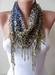 Leopard and Green Scarf with Green Trim Edge