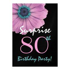 80th Surprise Birthday Pretty Pink Daisy Metallic Invitation Invitations 70th Gifts