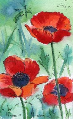 Poppies Painting - Poppies Fine Art Print - MaryAnn Cleary