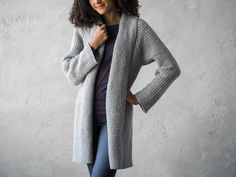 Perfect for layering, this comfy cardigan features a draped neckline that flatters any figure. Knit from the top down in one piece for an easy project with minimal finishing. Cardigan Sweaters For Women, Cardigans For Women, Sweater Cardigan, Knitting Yarn, Knitting Patterns, Crochet Patterns, Knitted Bags, Easy Projects, Knit Crochet