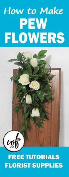 Learn how to make church decorations, corsages, boutonnieres, reception centerpieces, bridal bouquets and more. Buy fresh flowers and discount florist supplies. Simple Church Wedding, Wedding Pews, Wedding Ceremony Backdrop, Candelabra Flowers, Flower Centerpieces, Table Centerpieces, Wedding Pew Decorations, Church Decorations, Pew Flowers