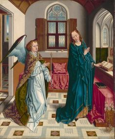 The Annunciation, Albert Bouts, c. Cleveland Museum of Art: Medieval Art Bouts was the son of the painter Dieric, from a family of painters in Leuven. Religious Images, Religious Art, Renaissance Art, Medieval Art, Hans Baldung Grien, Cleveland Museum Of Art, Mark Rothko, European Paintings, Book Of Hours