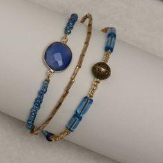 Bracelet Trois Rangs Bleu et Or / Bracelet Pierre de Gemme / Bracelet Pierre de Lune / Bracelet Triple