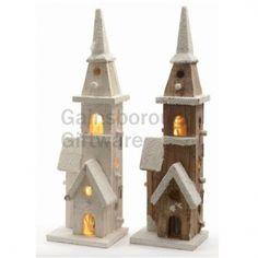 Wooden Xmas Chapel LED Light Up @ gainsboroughgiftware.com