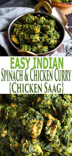 Make this healthy, classic Indian Spinach & Chicken Curry recipe (known as Chicken Saag) at home with little effort. The warm, rich flavors will keep you coming back for more! 248 calories and 5 Weight Watcher SP Chicken Spinach Curry, Spinach Stuffed Chicken, Best Chicken Recipes, Chicken Recepies, Recipe Chicken, Sweet Recipes, Indian Food Recipes, Ethnic Recipes, Indian