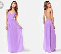 Elegant lavender pastel maxi dress for summer 2014 from Lulu's with sexy open back and V-neck