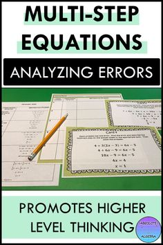 Help your high school Algebra students build rigor by finding errors in problems. This resource includes 10 multi-step equations with an error in each which the student needs to find and then solve correctly. Color and B/W copies, cooperative group instructions, answer sheet, and worked out answer key are included. #error analysis #mistake #error, #equations, #solving equations #task cards #Algebra #Algebra I #multi-step equations #distributive property Math Resources, Math Activities, High School Algebra, Algebra 1, Solving Equations, Secondary Math, Word Problems, Task Cards, Math Lessons