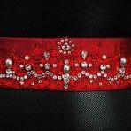 Hannah Belt: 72″x 2″ Dupion silk tie belt hand embroidered with Swarovski crystals can be tied around the waist, in hair, or around the neck. $250.00
