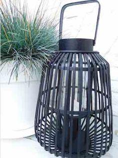 lantaarn zwart bamboe