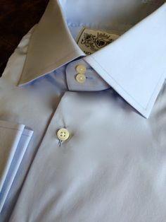 Solid Light Blue Tailored Executive Shirt High Collar Shirts, Light Blue, Fashion, Moda, Fashion Styles, Fashion Illustrations, Pastel Blue, Light Blue Color