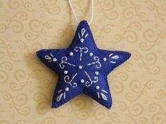 star ornament small dark blue felt star