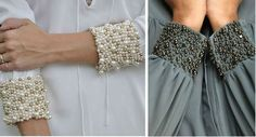 Cuffed sleeves with pearl beads. Spectacular decor of a simple blouse. You can also decorate the cuffs of not only blouses, but also the cuffs of a sweater, jacket or trench coat Bead Embroidery Jewelry, Shirt Embroidery, Embroidery Fashion, Hand Embroidery Designs, Beaded Embroidery, Abaya Fashion, Diy Fashion, Ideias Fashion, Fashion Outfits