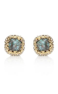 ALEXIS BITTAR turquoise cushion cut encrusted earrings