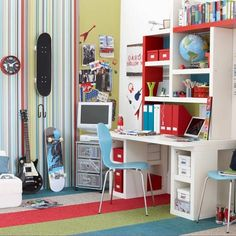 Cool and funky teenager's bedroom -- In a teenager's bedroom, choose blocks of strong colours to give the space a funky appeal that they will like to spend time in. Create a practical and versatile layout that will can double as a bedroom, study area and chill out space.