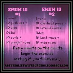 A Better Life with Burgers: EMOM Upper Body Workouts