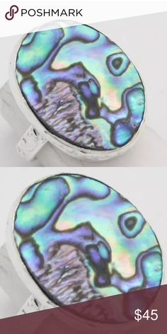 % 925 Sterling silver Abalone ring size 8 Gorgeous multi color % abalone shell set in % Sterling silver with detailed band, ornate size 8 ring!  Gorgeously handmade with awesome luster NWOT Hand made Jewelry Rings