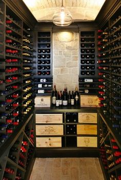In-house wine room for all your favorites and collectibles Cava para casa Wine Cellar Basement, Wine Cellar Racks, Tasting Room, Wine Tasting, Caves, Barris, Home Wine Cellars, Wine Cellar Design, Cigar Room