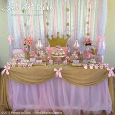 Ideas For Baby Shower Nena Princesa Party Ideas Princess Theme Birthday, 1st Birthday Party For Girls, Ballerina Birthday, Baby Birthday, Birthday Parties, Baby Shower Table, Shower Party, Baby Shower Parties, Girl Baby Shower Decorations