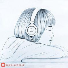 Easy Love Drawings, Pencil Drawings Of Girls, Pencil Drawing Tutorials, Girl Drawing Sketches, Art Drawings Beautiful, Girly Drawings, Art Drawings Sketches Simple, Drawing Challenge, Drawing Techniques