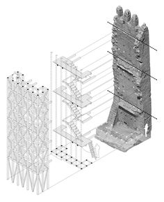 Gallery of Recovery of Merola's Tower / Carles Enrich Studio - 35 Architecture Renovation, Architecture Collage, Architecture Drawings, Concept Architecture, Contemporary Architecture, Tectonic Architecture, Conservation Architecture, Architecture Models, Taehyung Selca