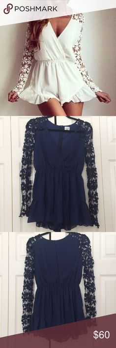 LF Angel Biba Lace Sleeve Romper Beautiful Angel Biba boutique lace sleeve romper! Navy blue. Australian size 6 (small) Worn twice! Excellent condition. LF Dresses
