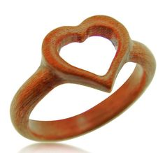 Hand Carved Wooden Heart Ring, Wood Ring, Gift Idea, Jewelry, Rings, Jewelry…