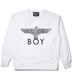 BOY White/Black Boy Eagle Sweater