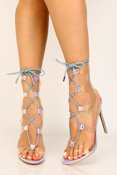 Hologram Clear Strappy Lace Up High Heels , Lace Up High Heels, High Heel Pumps, Womens High Heels, Pumps Heels, Stiletto Heels, Spring Shoes, Summer Shoes, Petite Fashion Tips, Cute Heels