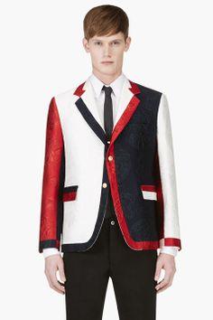 THOM BROWNE White, Red & Navy Jacquard Blazer