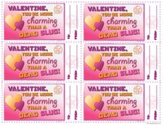 """Valentine, you're more charming than a dead slug."" #HungerGames inspired #Valentines - Free printables"