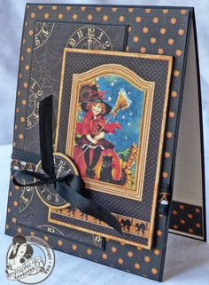 handmade Halloween card ... gorgeous layers of papers from Graphics 45 collection ... vintaage images ... black based papers ... wonderful card!!