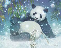 Panda Painting - Snow Garden Panda by Tracy Herrmann Panda Painting, Painting Snow, Wildlife Paintings, Wildlife Art, Big Cats Art, Eagle Art, Panda Art, Tiger Art, Lion Art