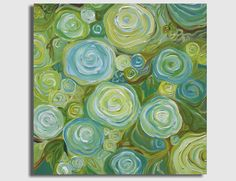 Large Abstract Painting Summer Roses 24x24 by SageMountainStudio