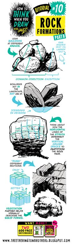 How to think when you draw with Lorenzo Rock Formations (Part B) Drawing Lessons, Drawing Techniques, Drawing Tips, Drawing Reference, Art Lessons, Drawing Rocks, Sketch Drawing, Deviant Art, Draw Tutorial