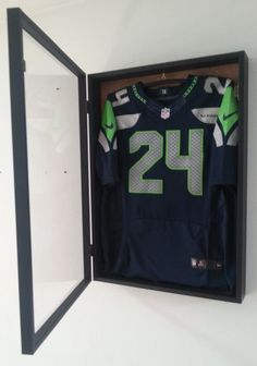 JERSEY Display Case Frame Shadow Box Football Hockey Baseball Deep Natural Wood