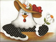 Resultado de imagen de galinhas pintura em tecido