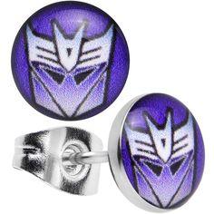 Stainless Steel Licensed Transformers Decepticon Logo Stud Earrings