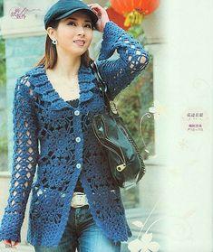 Crochetemoda: Casaco Azul de Crochet