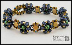 Honeycomb, Half Moon, True 2mm, Swarovski pearls, seed beads