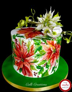 Hand painted poinsettias onto a royal iced boozy fruit cake. Christmas florals are made from cold porcelain. Christmas Themed Cake, Christmas Cake Designs, Christmas Cake Pops, Christmas Cake Decorations, Christmas Poinsettia, Holiday Cakes, Doll Birthday Cake, Watercolor Cake, Christmas Baking