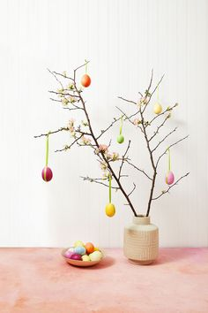 These handmade DIY Easter decorations, crafts, and gifts will put a fresh face on spring. Find tons of Easter craft inspiration here, from DIY napkins to easy-to-make bunny baskets and more. Outside Decorations, Diy Easter Decorations, Tree Decorations, Easter Tree, Easter Egg Dye, Easter Bunny, Egg Tree, Easter Colors, Decoration Design